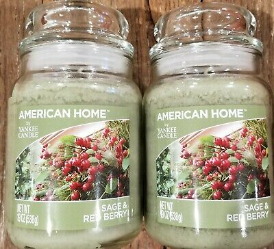 Two (2) Sage & Red Berry - American Home By Yankee Candle 19oz Jar - Brand New