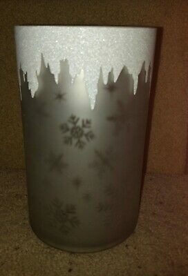Yankee Candle Flickering Snowflake Frosted Mercury Glass Jar Holder Brand New