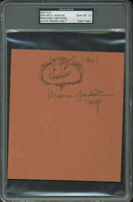 Maurice Sendak Signed Autographed Sketch Where The Wild Things Are Psa/dna 10