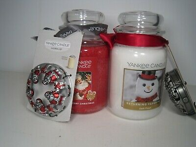 "Yankee Candle, (2) 22 Oz. Jars ""merry Christmas & Jack Frost"" Plus 2 Free Lids!"