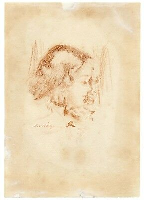 An Antique Drawing Of A Girl Signed Renoir With Galley Label