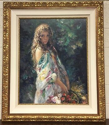 """Jose Royo """"el Paseo"""" Sold Out Framed Limited Edition Serigraph On Wood Panel"""