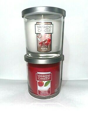 ☆☆set Of 2☆yankee Candle Small Tumblers Free Ship☆north Pole & Cherries On Snow