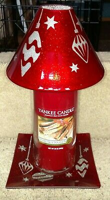 Yankee Candle Christmas Ornament Glass Shade Plate Set+ Pillar New With Tags