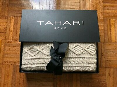 """New Tahari Home Cashmere Wool Blend Taupe Cable Knit Throw Blanket (50 X 60"""")"""