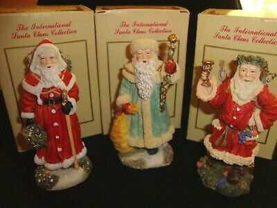 The International Santa Claus Collection Figurines - Lot Of 3 In Box - Vintage