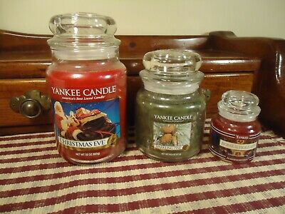 Lot (3) Yankee Candle Holiday Scented Candles: 22 Oz., 14.5 Oz., And 3.7 Oz Low$