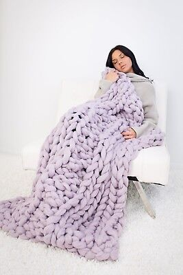 Handmade Knit Chunky Blanket 100% Wool Afghan Knitted Throw #23 Prime Delivery