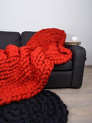 Handmade Knit Chunky Blanket 100% Wool Afghan Knitted Throw #31 Prime Delivery