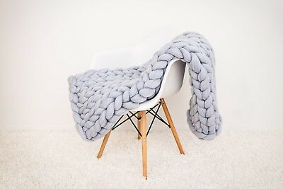 Handmade Knit Chunky Blanket 100% Wool Afghan Knitted Throw #06 Prime Delivery