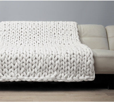 Handmade Knit Chunky Blanket 100% Wool Afghan Knitted Throw #29 Prime Delivery