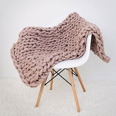 Handmade Knit Chunky Blanket 100% Wool Afghan Knitted Throw #04 Prime Delivery