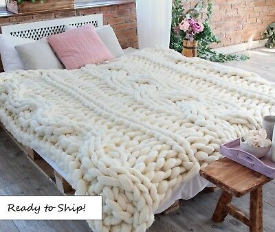 Handmade Knit Chunky Blanket 100% Wool Afghan Knitted Throw #21 Prime Delivery