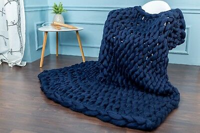 Handmade Knit Chunky Blanket 100% Wool Afghan Knitted Throw #32 Prime Delivery