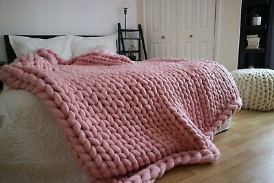 Handmade Knit Chunky Blanket 100% Wool Afghan Knitted Arm Throw Prime Delivery