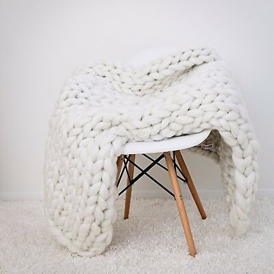 Handmade Knit Chunky Blanket 100% Wool Afghan Knitted Throw #05 Prime Delivery