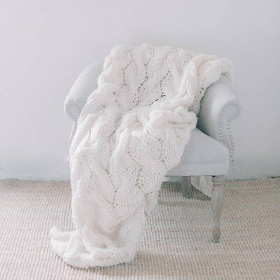 Handmade Knit Chunky Blanket 100% Wool Afghan Knitted Throw #17 Prime Delivery