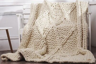Handmade Knit Chunky Blanket 100% Wool Afghan Knitted Throw #20 Prime Delivery