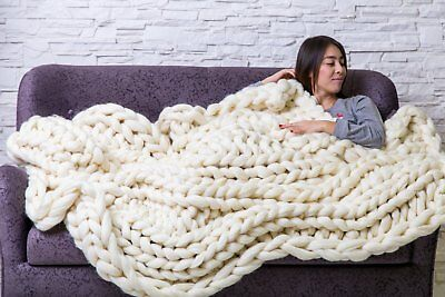 Handmade Knit Chunky Blanket 100% Wool Afghan Knitted Throw #35 Prime Delivery