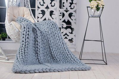 Handmade Knit Chunky Blanket 100% Wool Afghan Knitted Throw #26 Prime Delivery