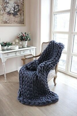 Handmade Knit Chunky Blanket 100% Wool Afghan Knitted Throw #28 Prime Delivery