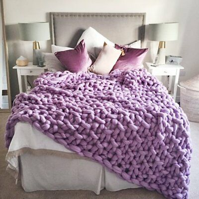 Handmade Knit Chunky Blanket 100% Wool Afghan Knitted Throw #03 Prime Delivery