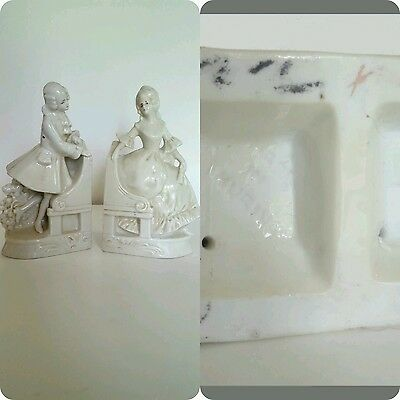 Antique 19th Century Figurine Bookends: Thuringia Germany