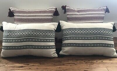 Set Of 4 Hearth & Hand Magnolia Green Red White Throw Pillow Tassel Nwt