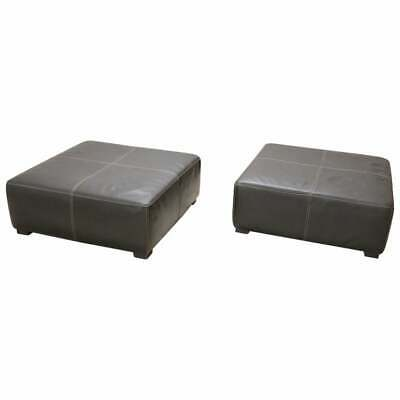 20th Century Italian Design Pair Of Large Pouf In Black Leather