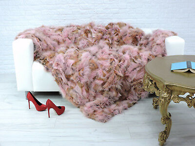 Luxury Real Fox Throw Fur Blanket Pink Tan Color Sofa Cover 055