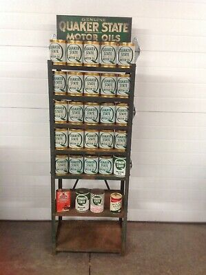 Genuine Quaker State Oil Can Rack With Display Cans
