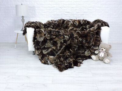Luxury Real Silver Fox Blanket Fur Throw King Size Sofa Cover 328
