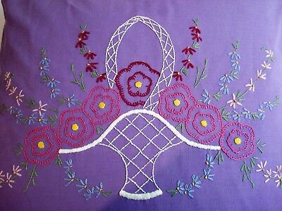 Vtg Embroidered Bedroom Throw Pillow-purple Cover Over (new) Feather/down Insert