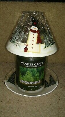 Yankee Candle Snowman Crackle Glass Jar Candle Shade And Plate Set Nwts