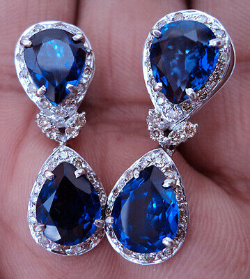 1.40ct Real Diamond 14k Hallmark Solid White Gold Blue Sapphire Earrings Dq898