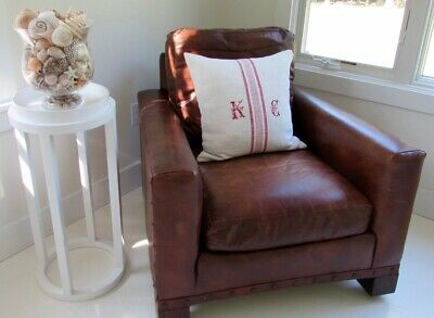 Crate & Barrel Leather Club Chair Hand Crafted High End Cognac Brown Excellent!