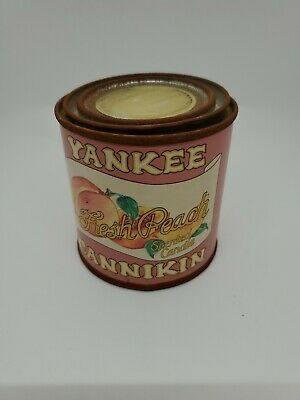 Yankee Cannikin Fresh Peach Scented Candle Vtg Rare Tin Can Unused Rusty 70s 80s