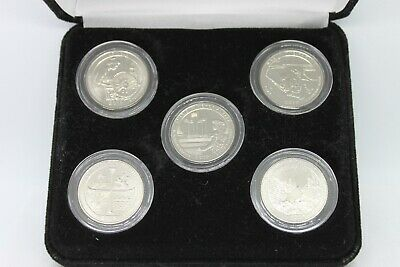 2019-w West Point Mint Complete 5 Quarter Bu Coin Set W/ Black Felt Display Box