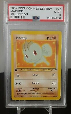 Pokemon Card 1st Edition Machop PSA Mint 9, Neo Destiny #73 2002 Low Population