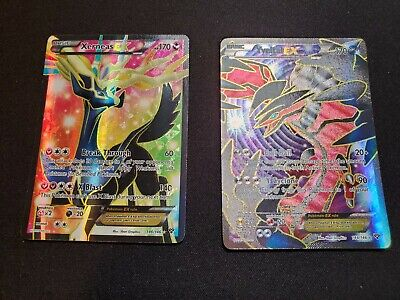 FULL ART Yveltal + Xerneas EX ULTRA RARE 144/146 XY Base Set Pokemon Holo
