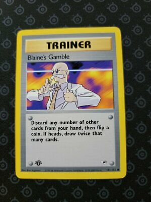 Blaine's Gamble 121/132 1st Edition Gym Heroes Trainer Pokemon Card