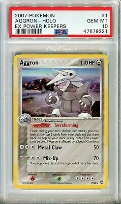 PSA 10 GEM MINT Pokemon AGGRON Holo Rare 2007 ex Power Keepers #1/108