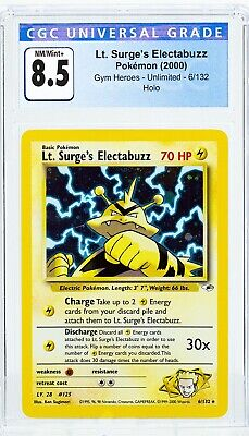 Lt. Surge's Electabuzz 6/132 Gym Heroes Unlimited Holo Pokemon CGC 8.5 *Not PSA