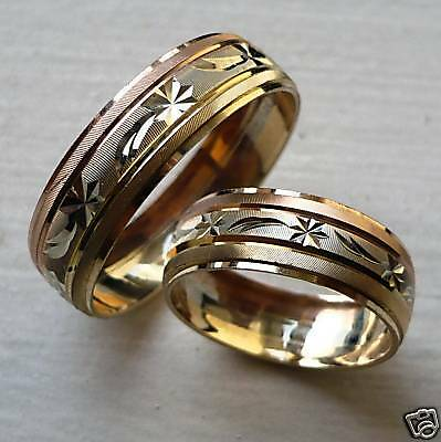14k Tricolor Gold His & Her Wedding Band Set Size 5-13 Free Engraving & Shippng