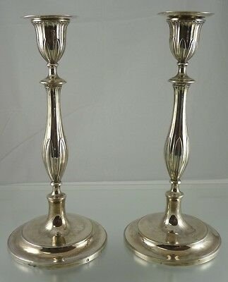 "Austria-hungarian .8125 Silver  Plain 9 3/8"" Candle Holders Friedrich Würth 1802"