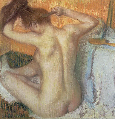 Large Beautiful Oil Painting Nude Young Girl In Her Toilet In Bathroom Canvas