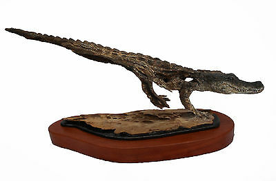 Rick Cain Gator Vision Original Fine Art Wood Carving Florida Reptile Sculpture