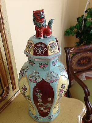 """Asain Foo Dog Urn-vase-large-very Old-signed-21"""" Tall 30"""" Around Lg.part  Exc."""