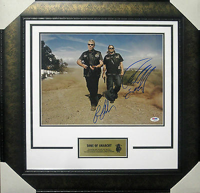 Sons Of Anarchy Perlman & Hunnam Signed & Framed 11x14 Photo Psa Dna S09575