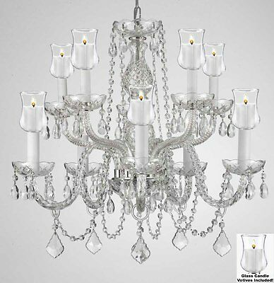 """Crystal Chandelier Lighting W/candle Votives H25"""" X W24""""for Indoor/outdoor Use!"""